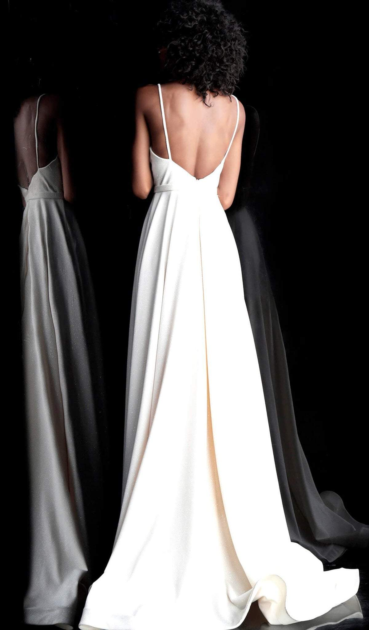 Jovani - 66253 Sleeveless V-neck Long A-line Dress With Train In White