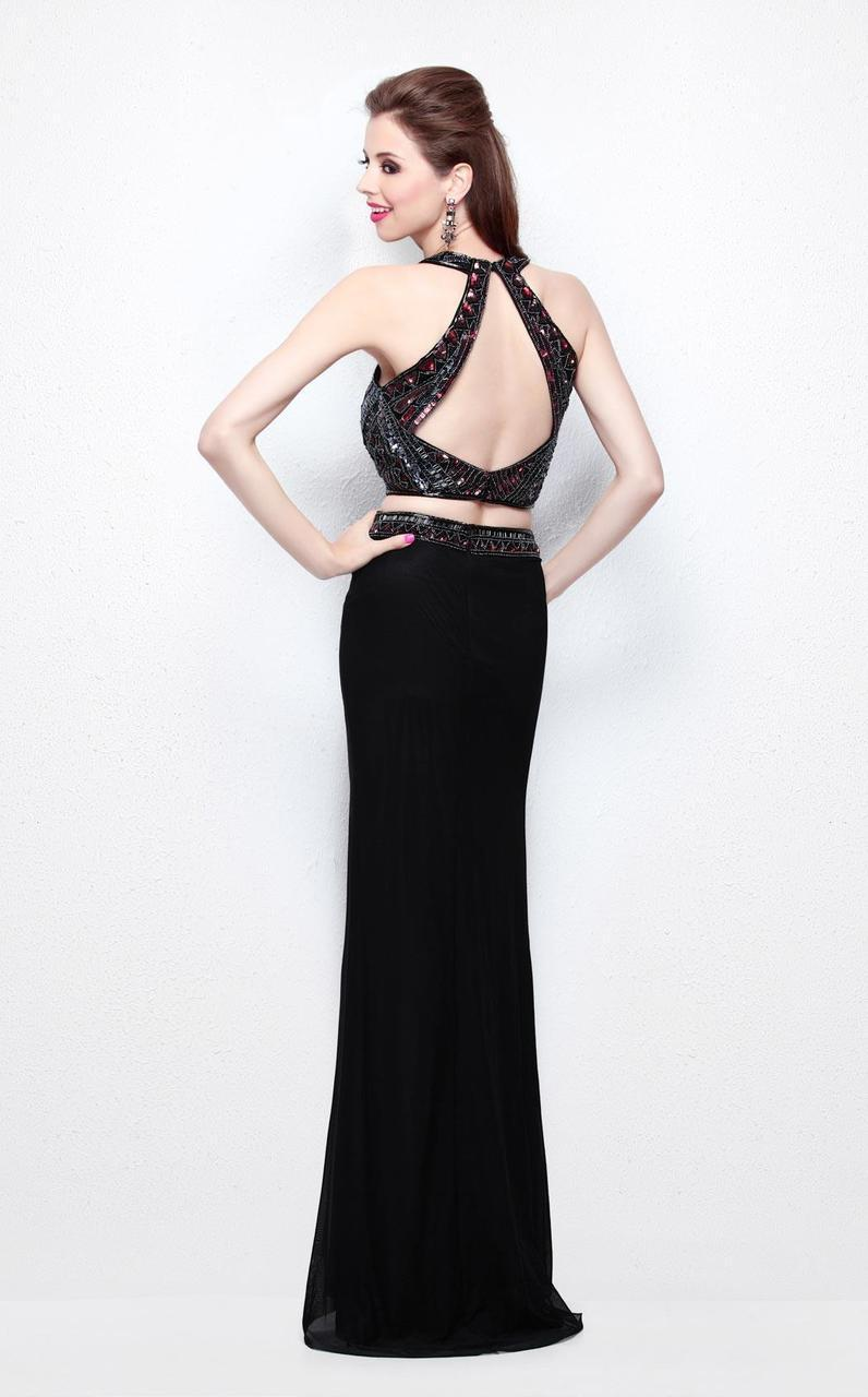 Primavera Couture - Two-Piece Sequined Halter Neck Jersey Sheath Gown 1594 in Black and Red