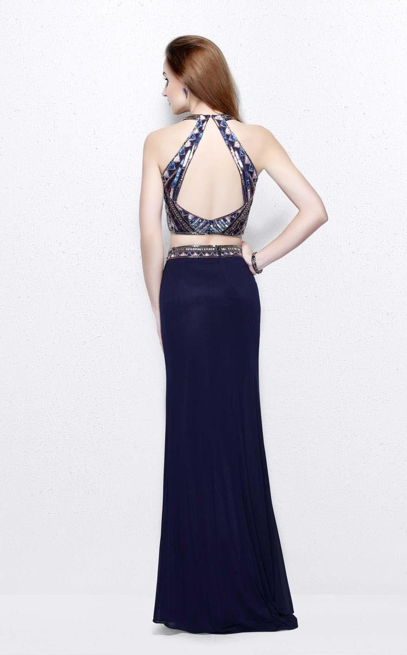 Primavera Couture - Two-Piece Sequined Halter Neck Jersey Sheath Gown 1594 in Purple