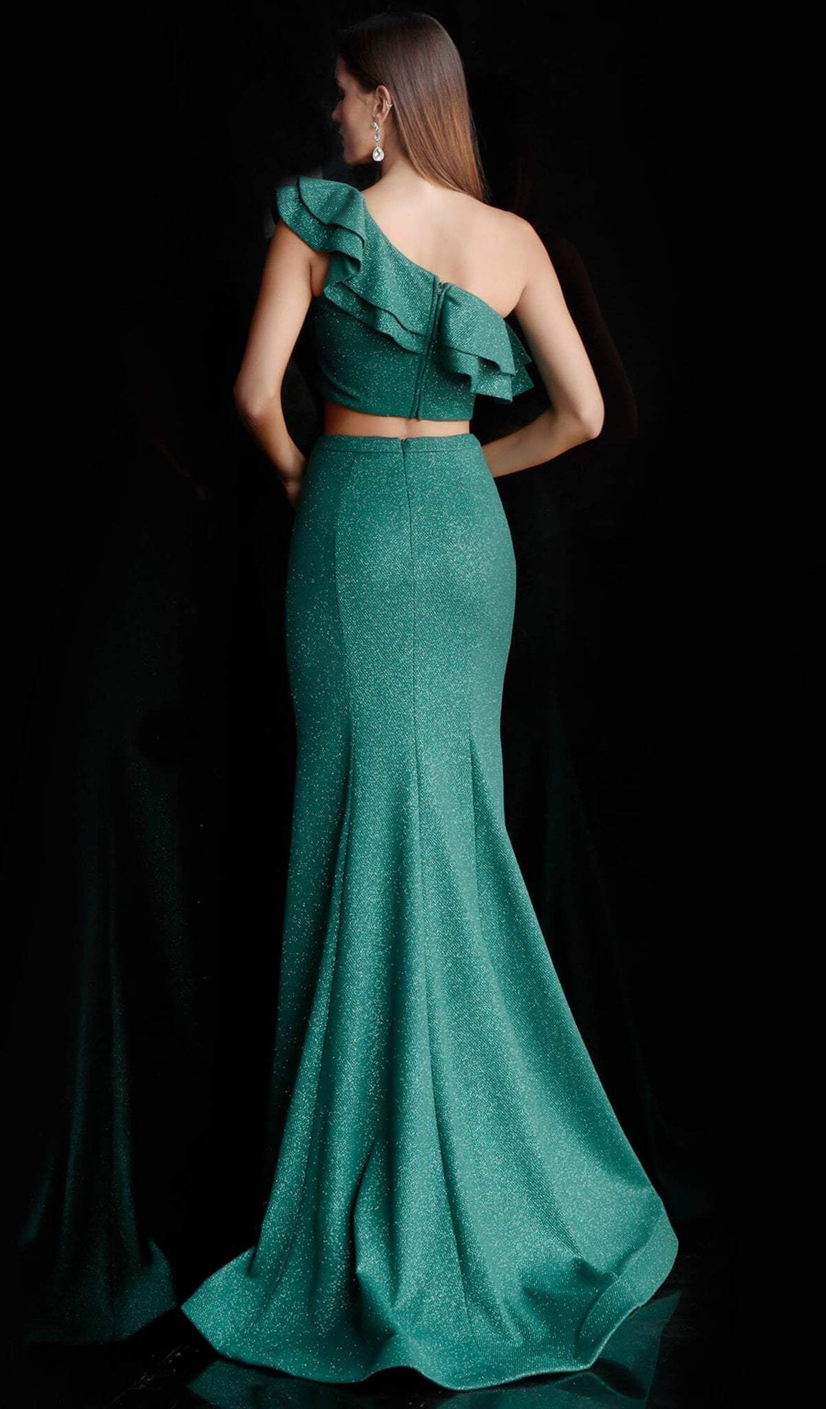 Jovani - 66271 Two Piece Ruffled Asymmetric Mermaid Dress With Train In Green