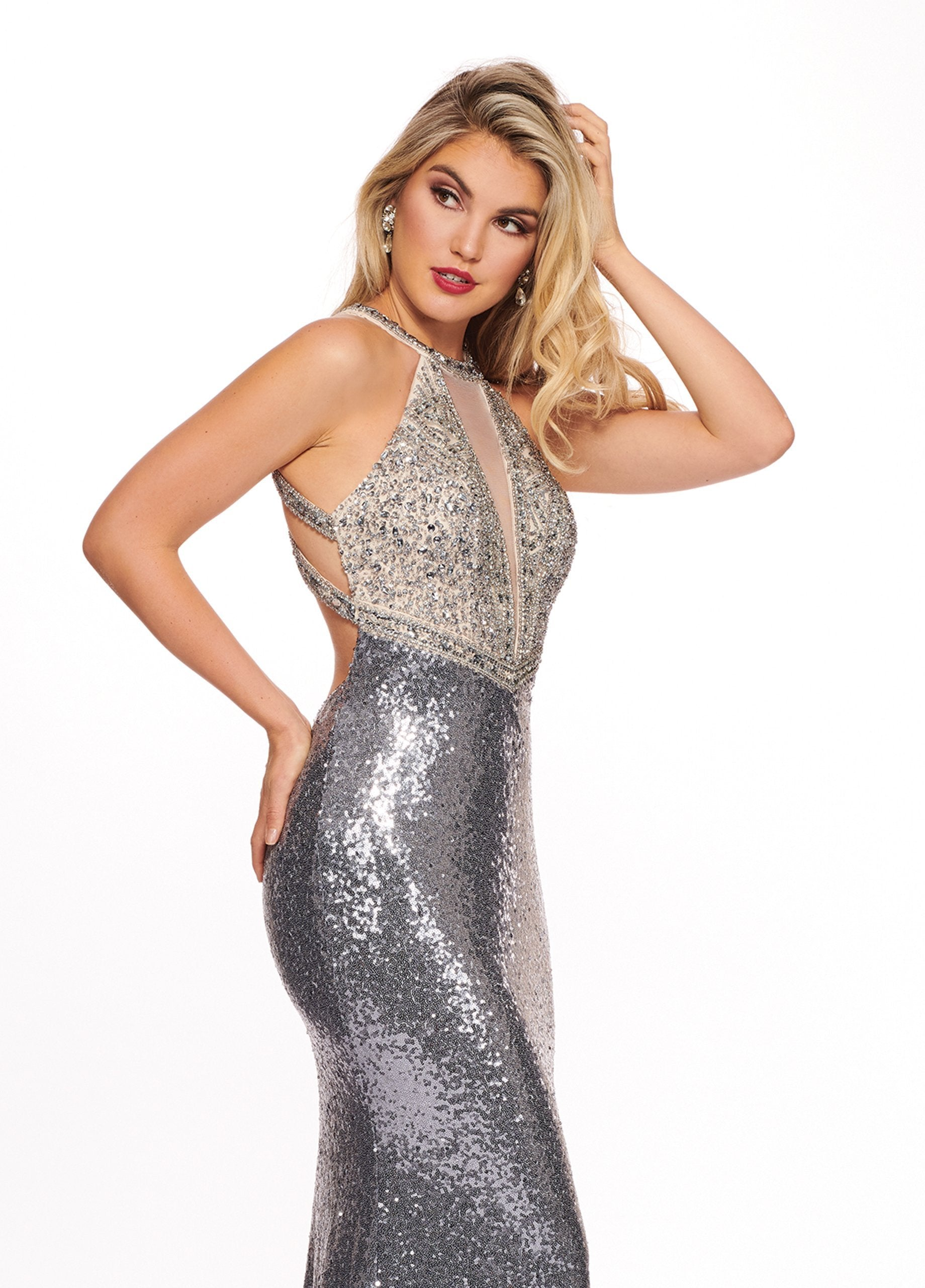 Rachel Allan - 6630 Sequined Halter Trumpet Dress With Train In Silver