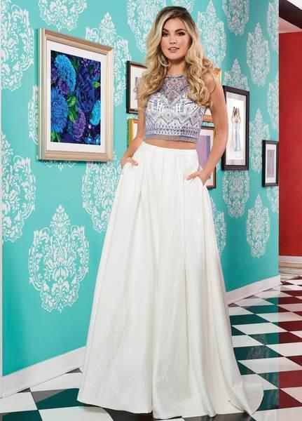 Rachel Allan - 6632 Two Piece Illusion Jewel Ballgown In White