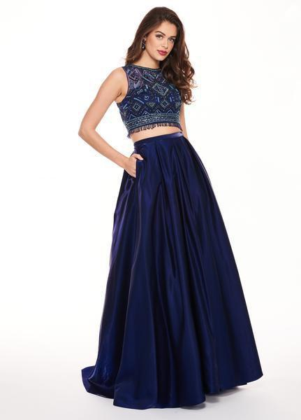 Rachel Allan - 6632 Two Piece Illusion Jewel Ballgown In Blue