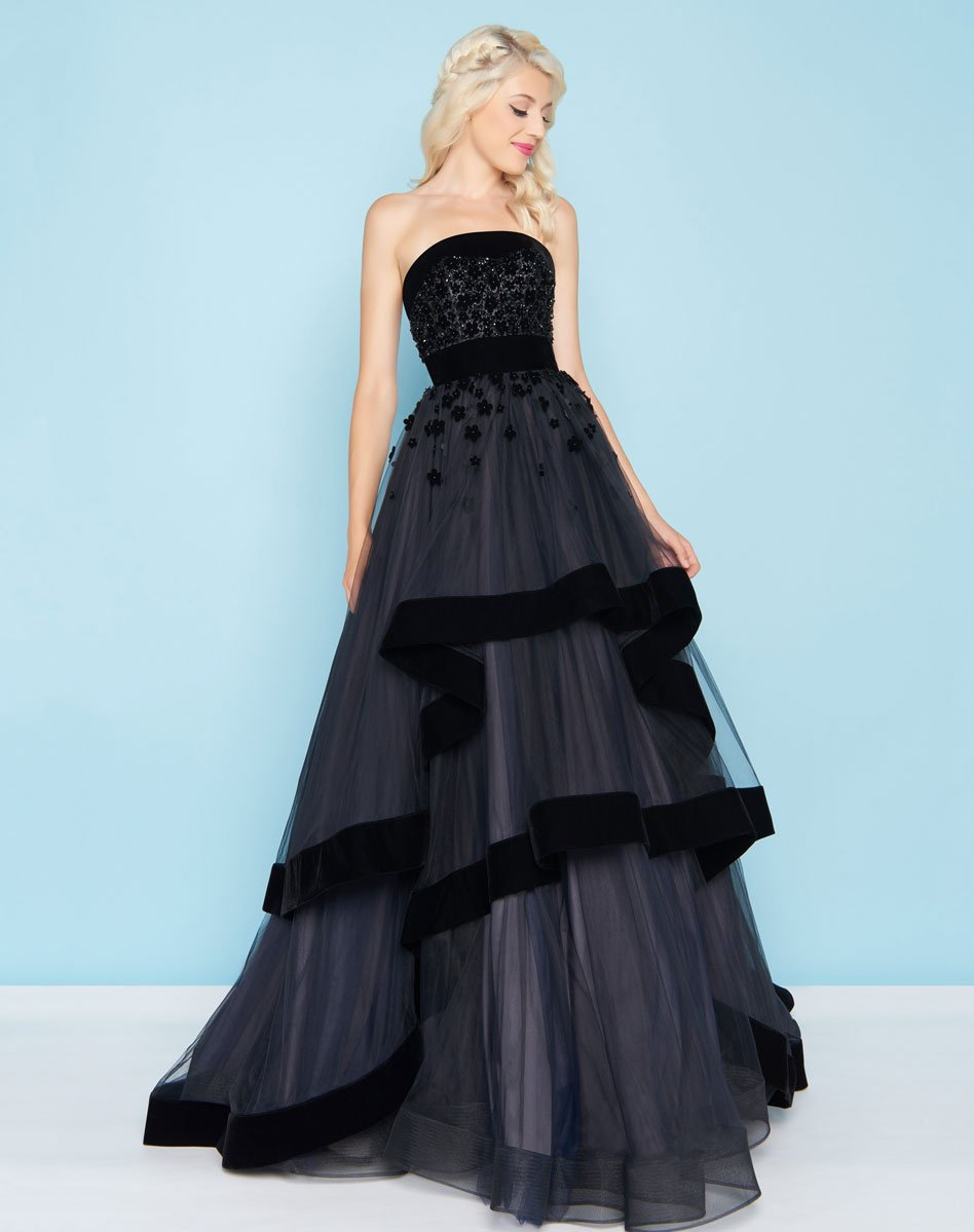 Mac Duggal - 66346H Velvet Trimmed Strapless Tiered Evening Gown In Black