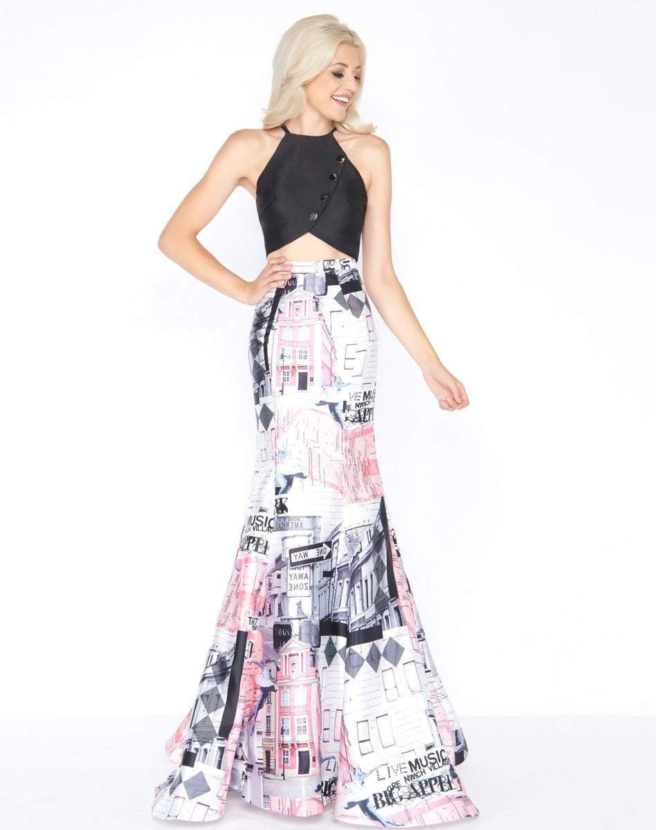 Cassandra Stone - 66374A Two Piece Buttoned Halter Printed Mikado Gown Special Occasion Dress