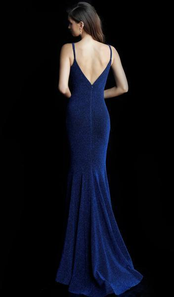 Jovani - Plunging V-neck Glitter Jersey Trumpet Dress 66442 In Blue