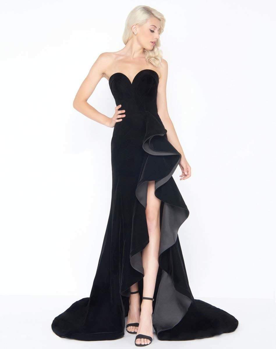 Mac Duggal - 66517M Ruffle Sweetheart Sheath Dress In Black