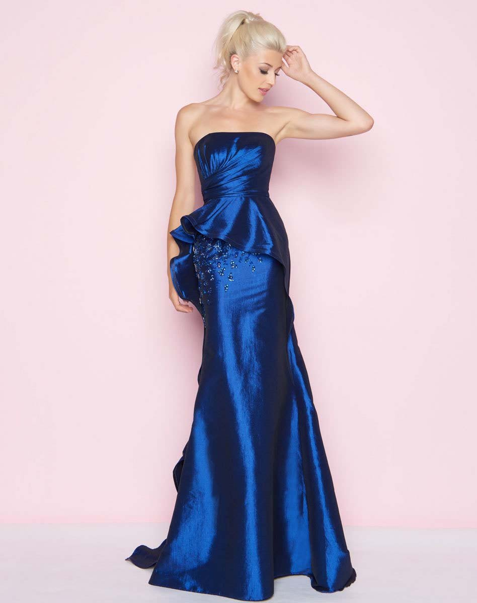 Mac Duggal - 66567L Ruched Straight Sheath Dress In Blue