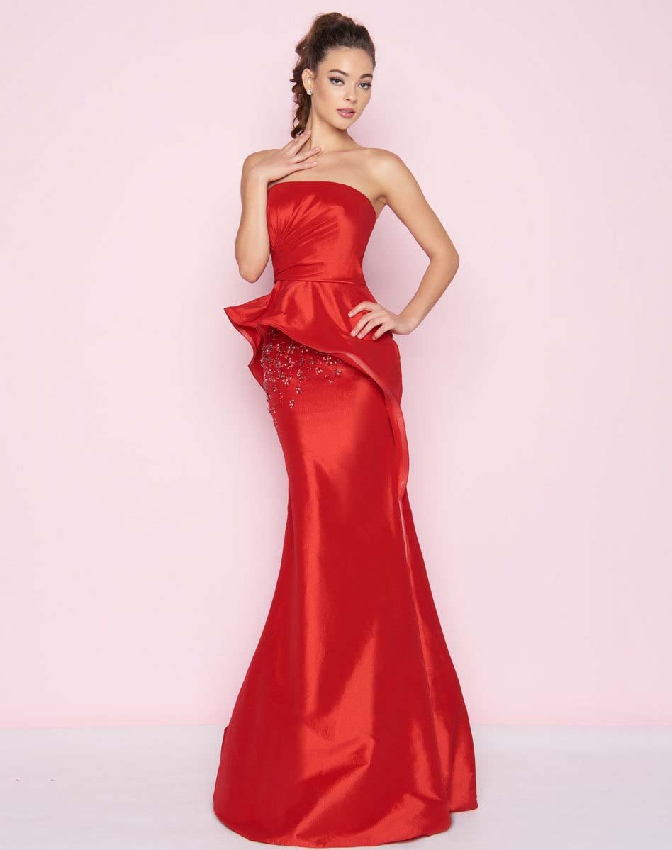 Mac Duggal - 66567L Ruched Straight Sheath Dress In Red