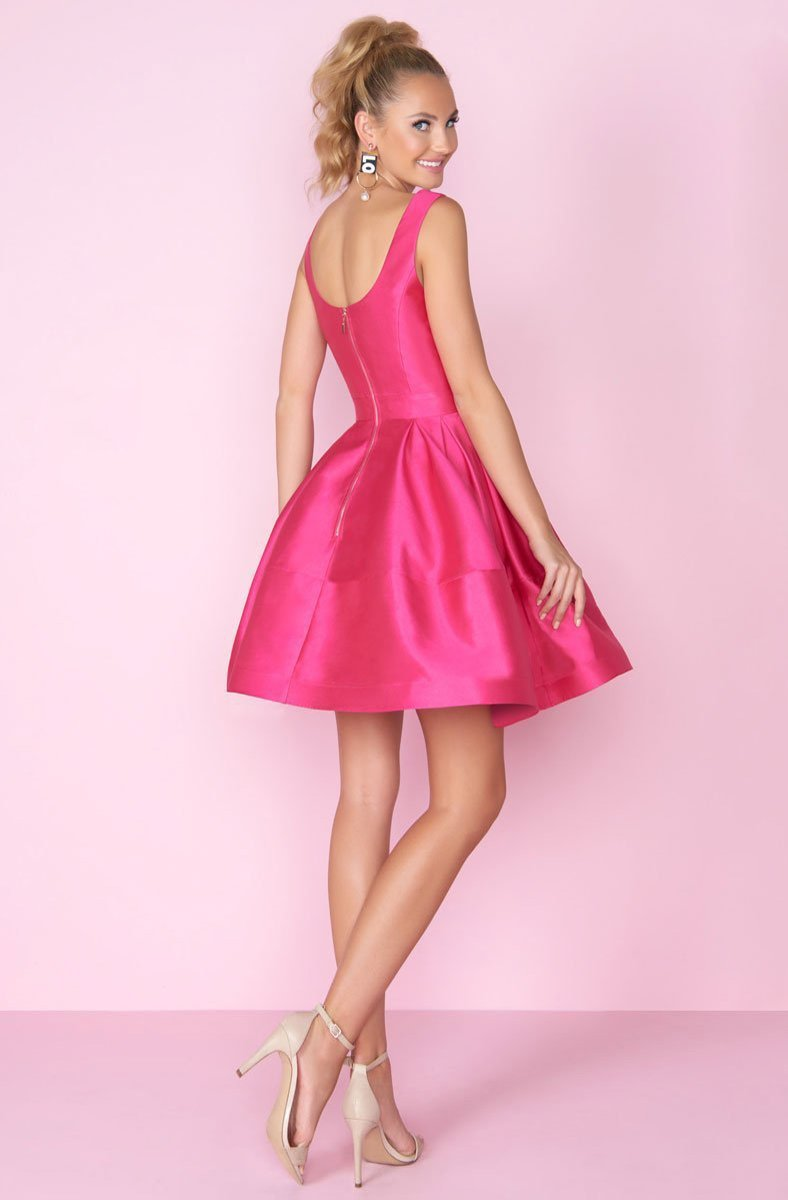 Mac Duggal - 66571C Square Neck Fit and Flare Short Dress In Pink