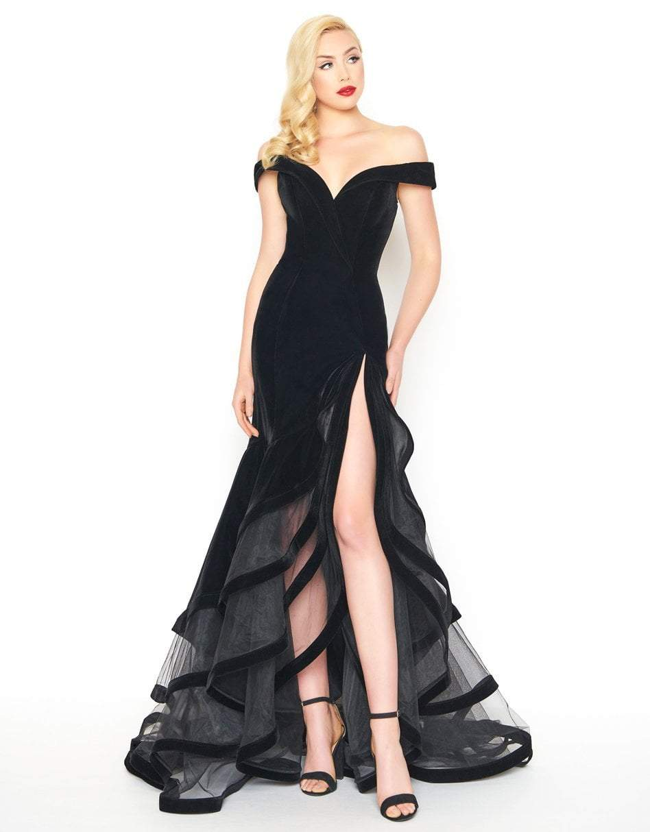 Mac Duggal - 66586R Velvet Off-Shoulder Layered Trumpet Dress in Black