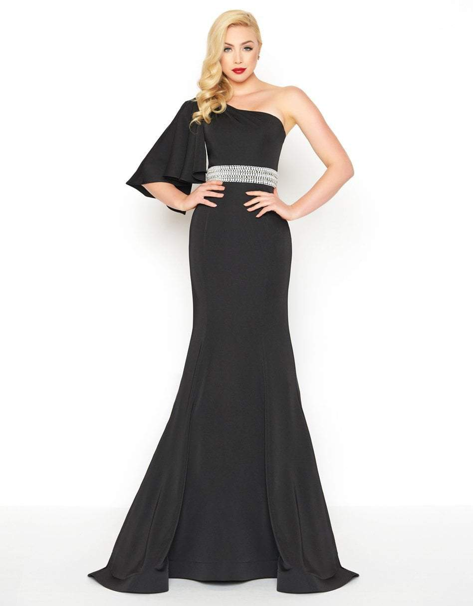 Mac Duggal - 66587R One Shoulder Bell Sleeve Asymmetric Trumpet Dress in Black