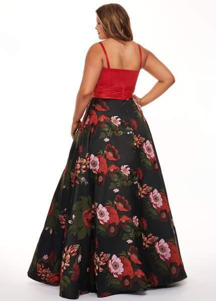 Rachel Allan Curves - 6664 Plunging Sweetheart Floral Evening Dress In Red and Multi-Color