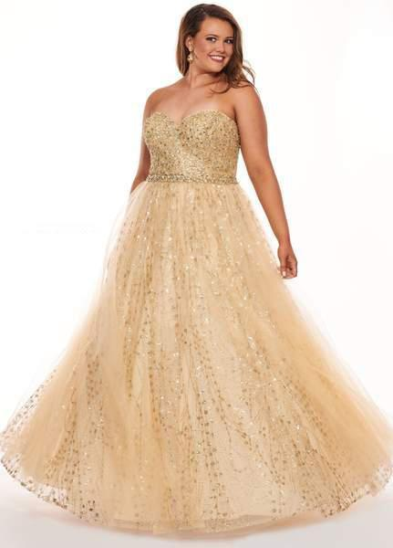 Rachel Allan Curves - 6665 Sequined Strapless Evening Gown In Gold