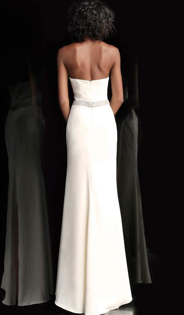 Jovani - Strapless Plunging V-neck Embellished Trumpet Dress 66683  In White