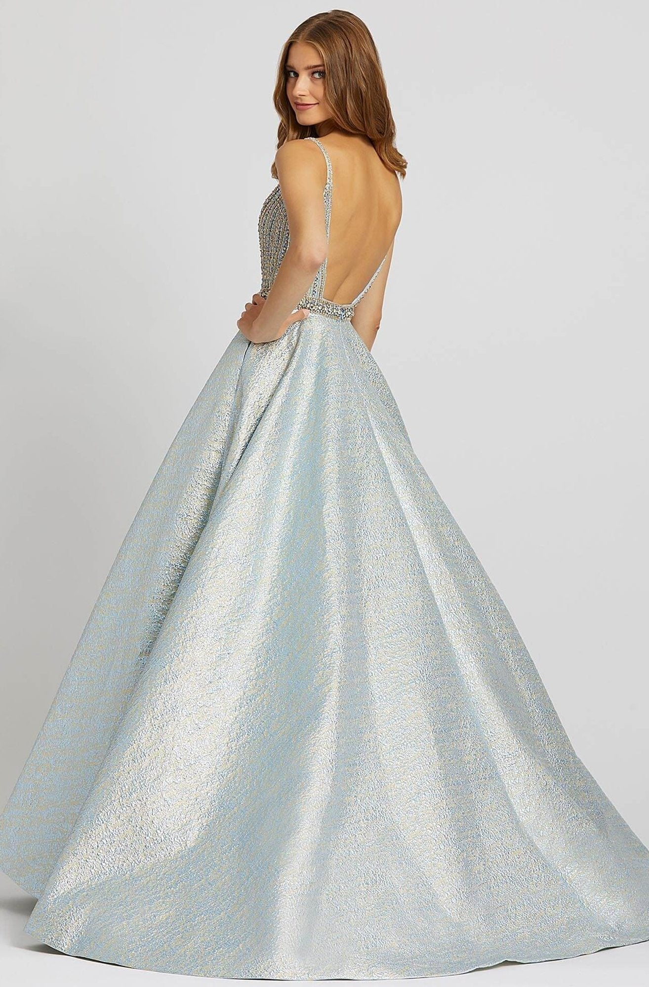 Mac Duggal Prom - 66701M Plunging Jewel-Strewn Metallic Ballgown In Blue