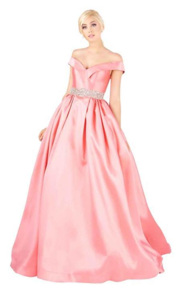 Mac Duggal Ballgowns - 66717H Crystal Beaded Off Shoulder Ballgown in Pink