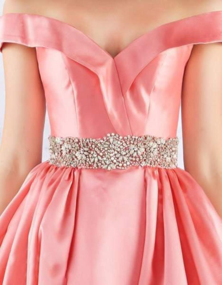 Mac Duggal Ballgowns - 66717H Crystal Beaded Off Shoulder Ballgown In Pink and Orange