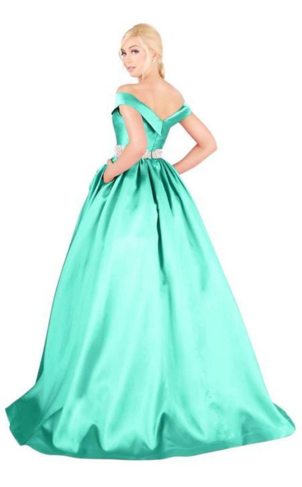 Mac Duggal Ballgowns - 66717H Crystal Beaded Off Shoulder Ballgown in Green