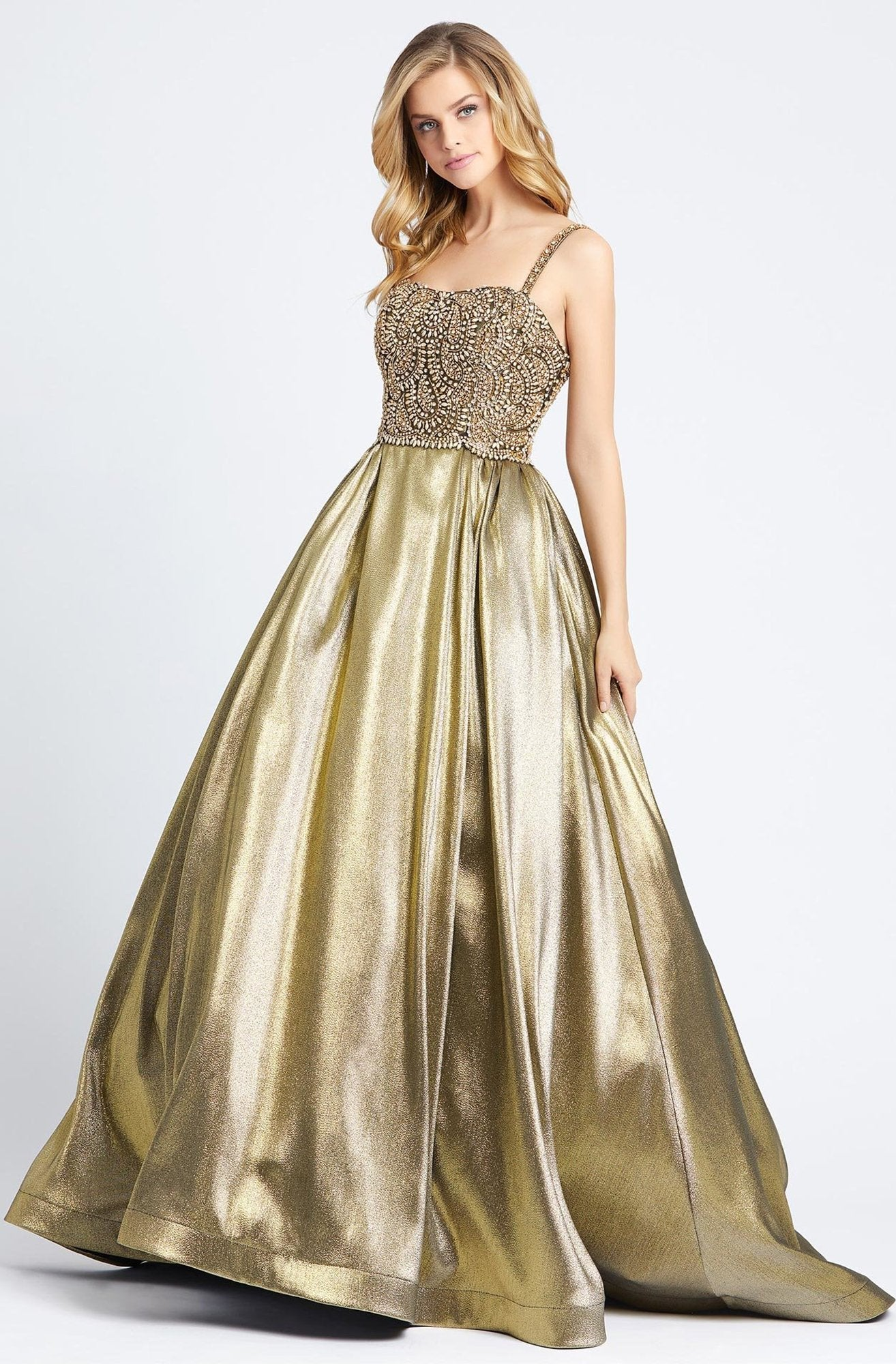 Mac Duggal Ballgowns - 66743H Paisley-Beaded Bodice Metallic Ballgown In Gold