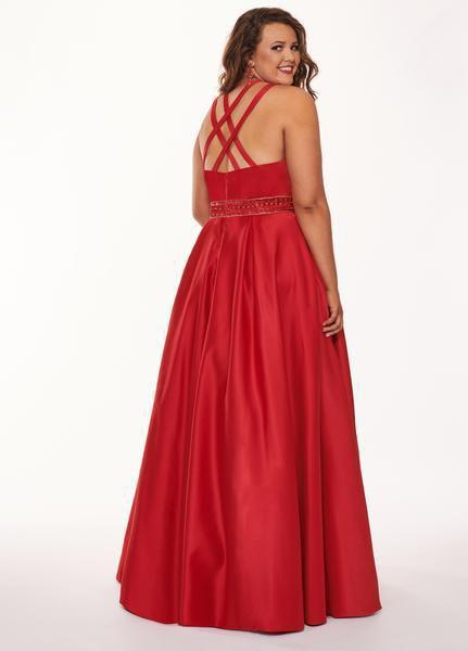 Rachel Allan Curves - 6674 Brooch Accented Keyhole Cutout A-Line Gown In Red