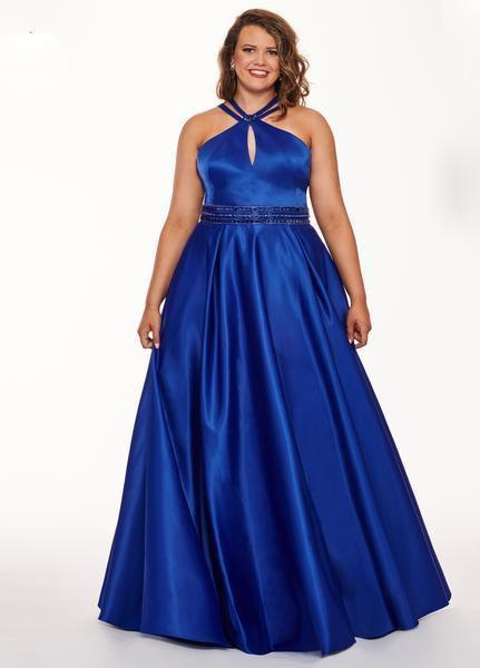 Rachel Allan Curves - 6674 Brooch Accented Keyhole Cutout A-Line Gown In Blue