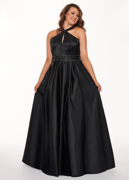 Rachel Allan Curves - 6674 Brooch Accented Keyhole Cutout A-Line Gown In Black