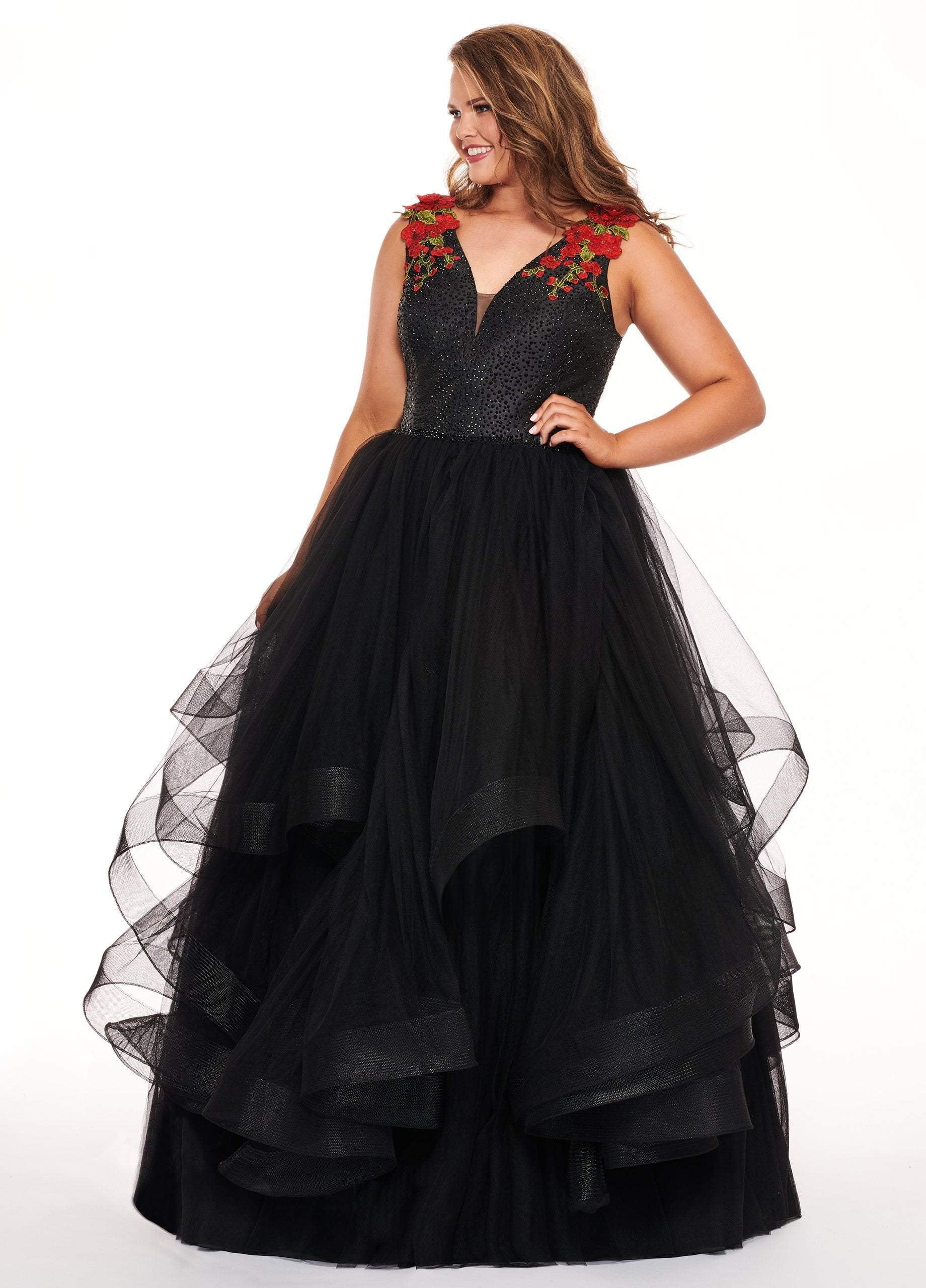 Rachel Allan Curves - 6675 Floral Embroidered Plunging Ballgown In Black