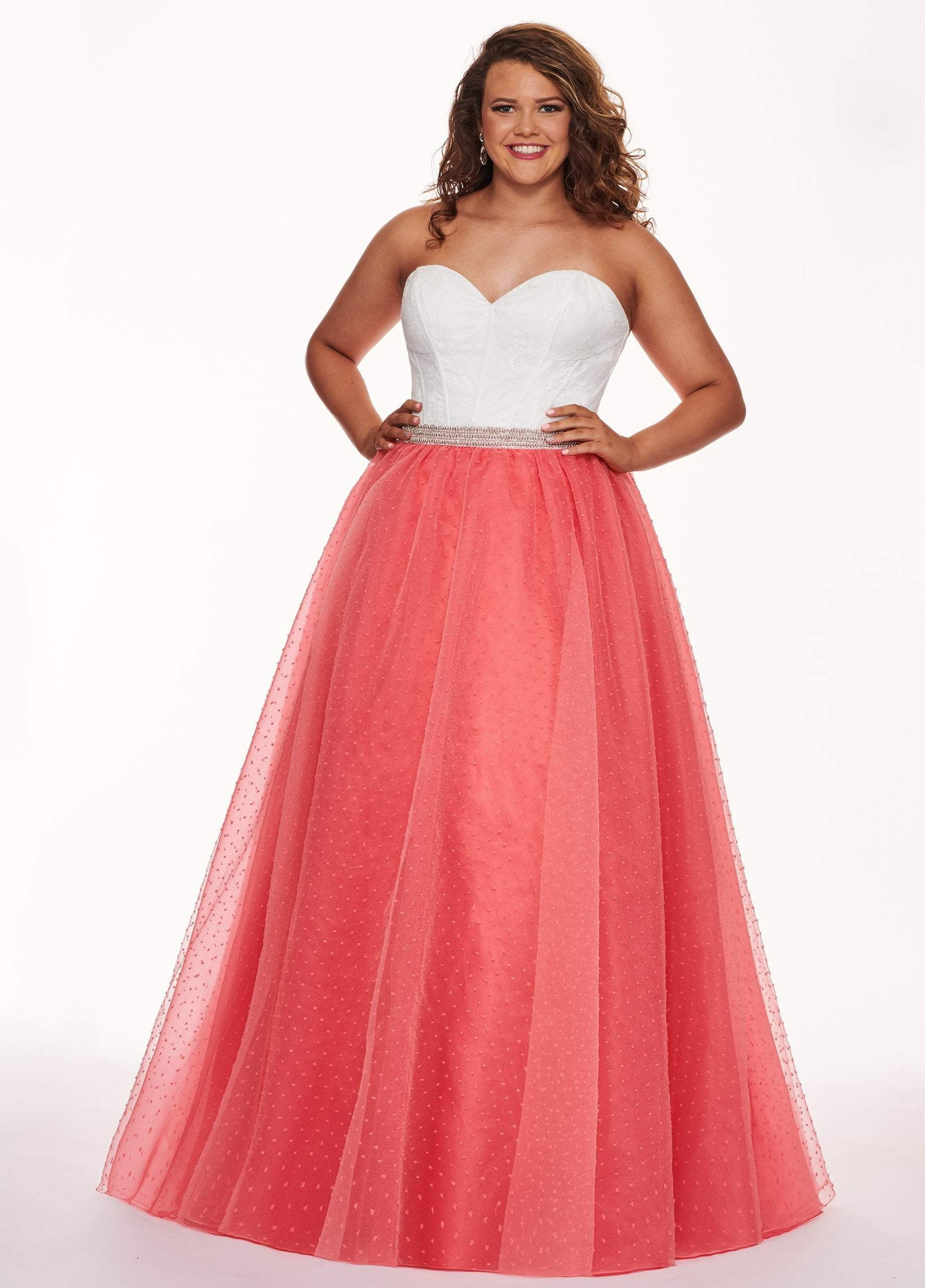 Rachel Allan Curves - 6677 Strapless Sweetheart Pleated Ballgown In White and Pink