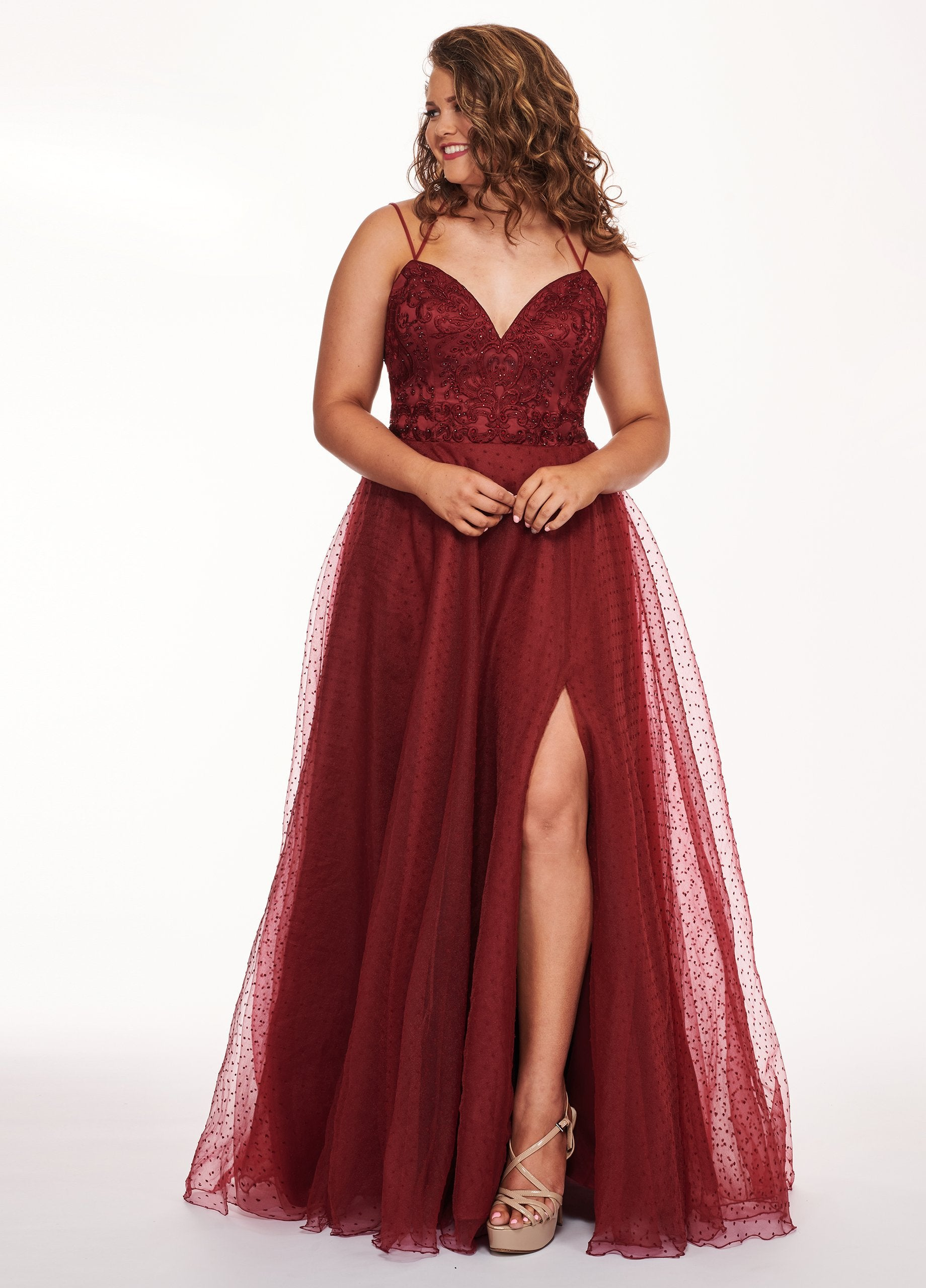 Rachel Allan Curves - 6680 Beaded V-Neck Pleated Gown with Slit In Red