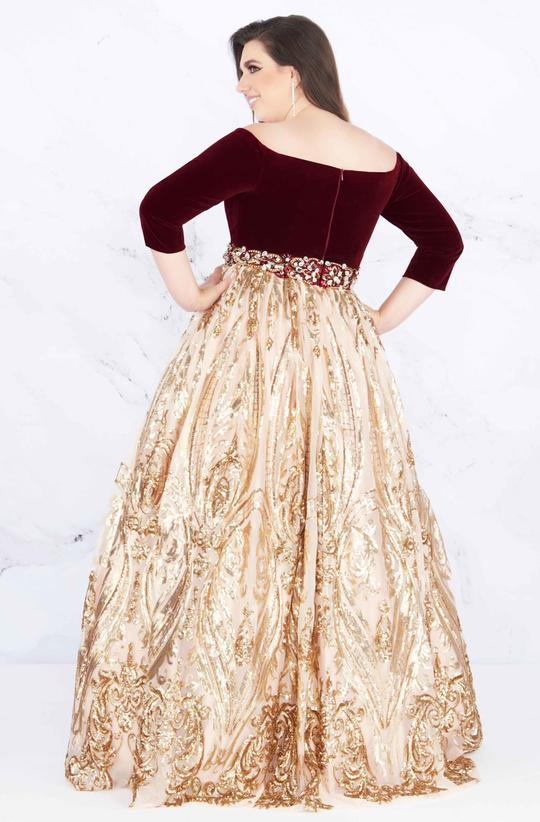Mac Duggal - Sequined Off-Shoulder Velvet Ballgown 66831F In Red and Gold