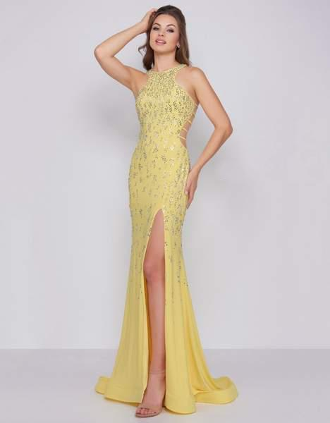 Cassandra Stone - 66874A Embellished Halter Dress With Lattice Back Special Occasion Dress 0 / Lemon
