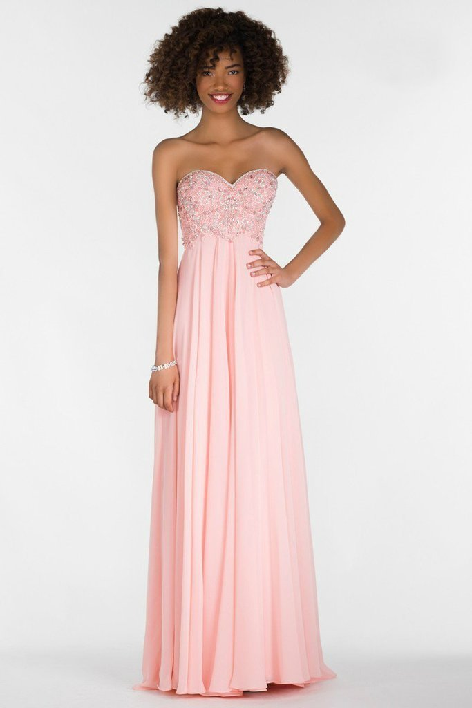 Alyce Paris 6686 Prom Collection Strapless Chiffon Dress In Pink