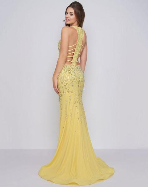 Cassandra Stone - 66874A Embellished Halter Dress With Lattice Back Special Occasion Dress