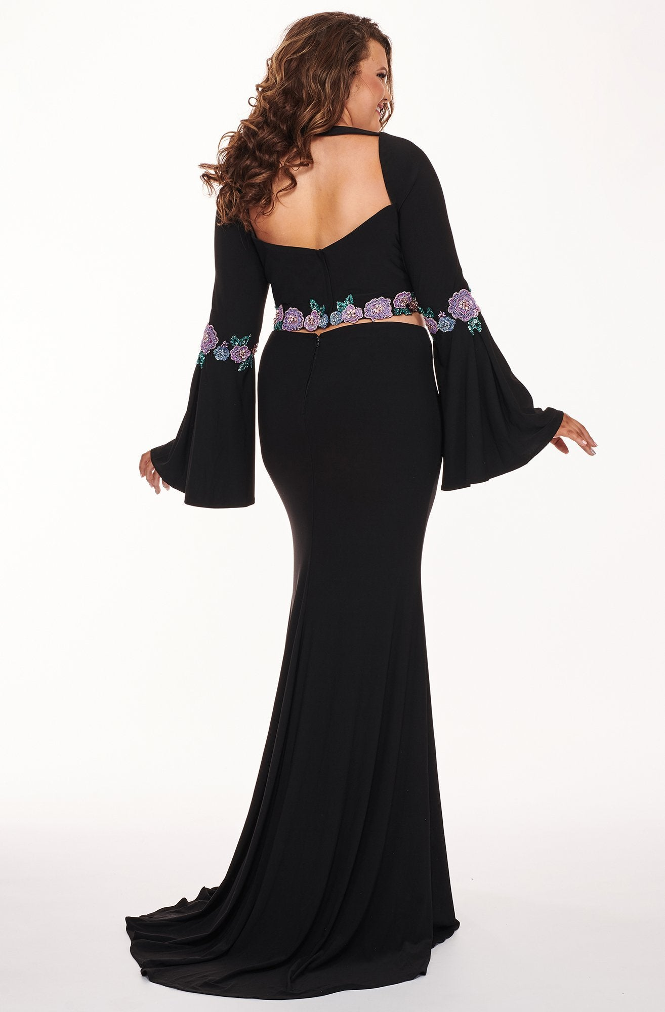 Rachel Allan Curves - 6689 Two Piece Beaded Long Sleeve Jersey Dress In Black
