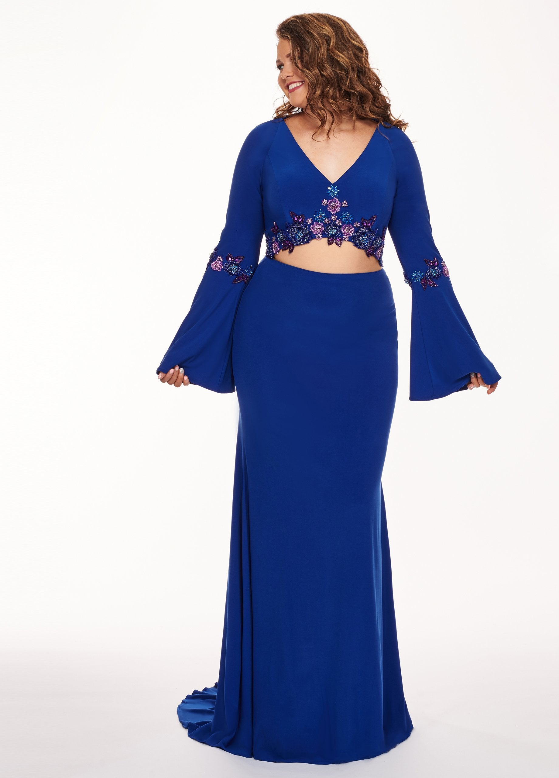 Rachel Allan Curves - 6689 Two Piece Beaded Long Sleeve Jersey Dress In Blue