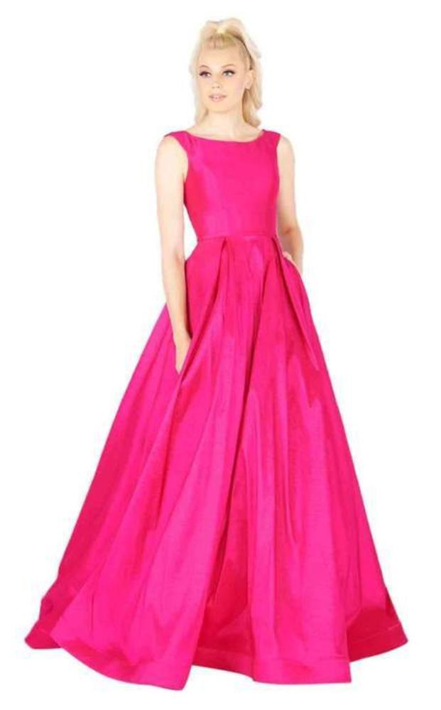 Mac Duggal Flash - 66920L Sleeveless Vibrant Taffeta A-Line Gown Special Occasion Dress 0 / Magenta