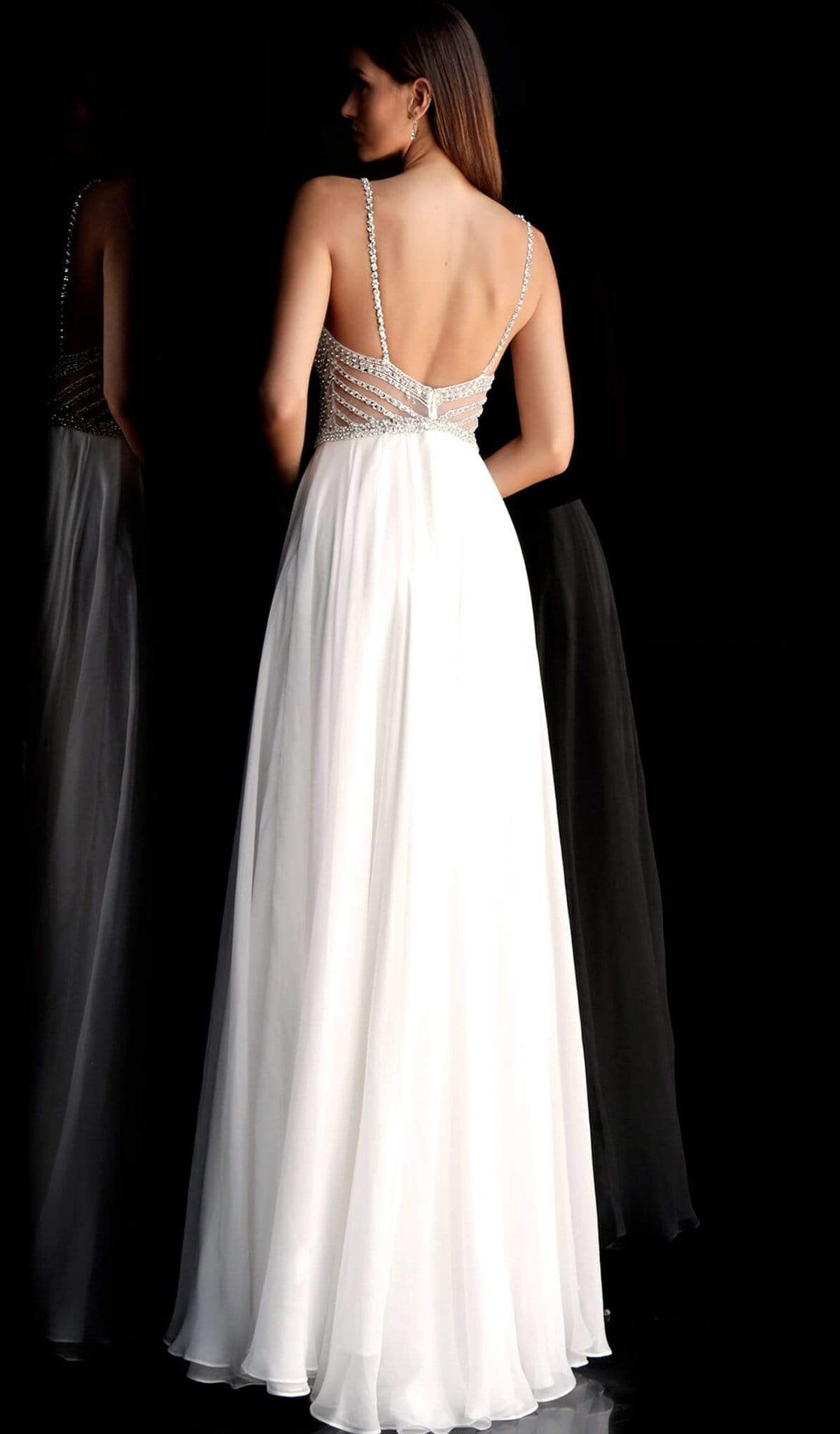 Jovani - Beaded Plunging V-neck Chiffon A-line Dress 66925 In White