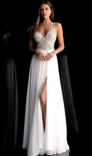Jovani - Beaded Plunging V-neck Chiffon A-line Dress 66925 CCSALE 2 / Off-White
