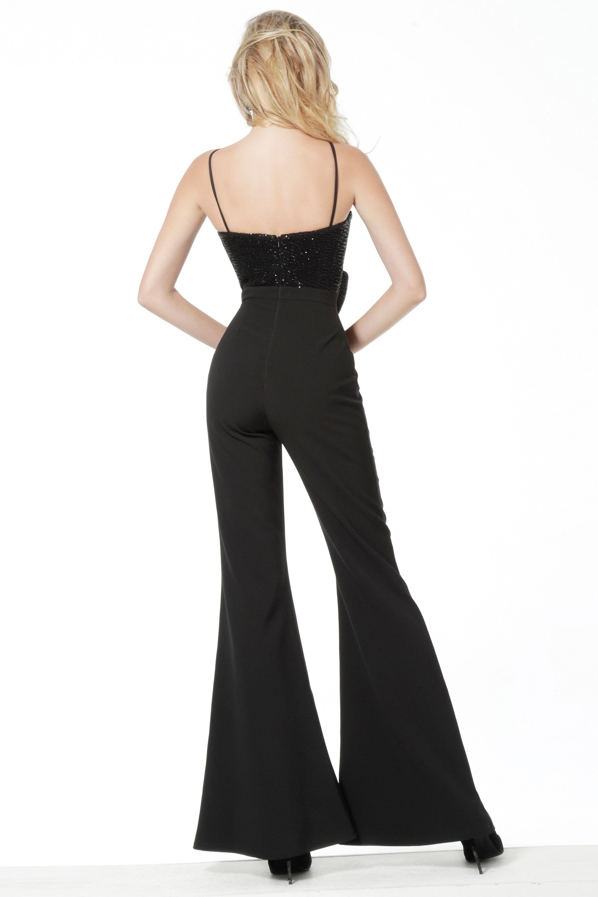 Jovani - 18891SC Bow Accent Sleeveless Bodice Bell Bottom Jumpsuit