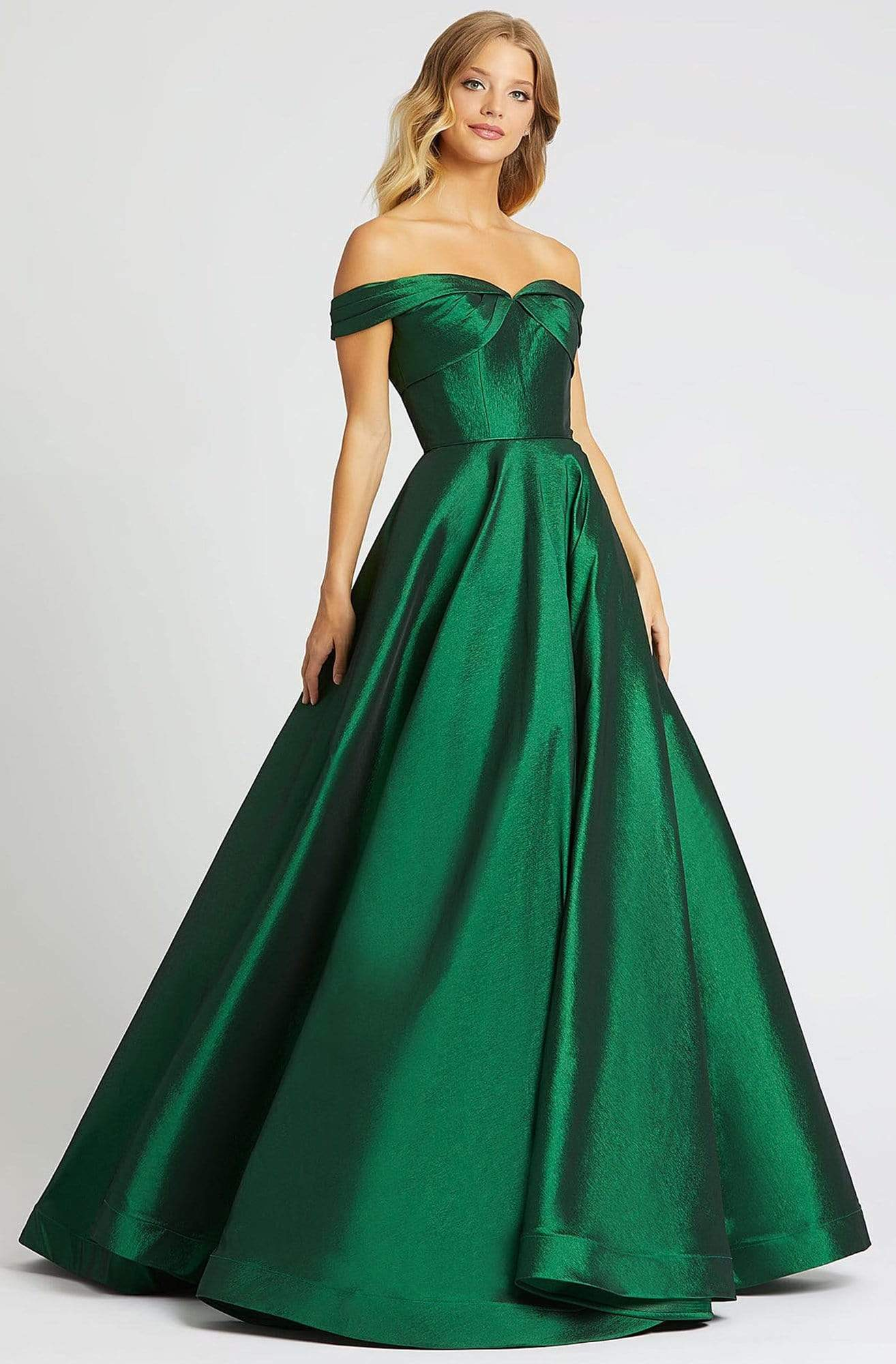 Mac Duggal Ballgowns - 67104H Off Shoulder V back Ballgown Ball Gowns 0 / Emerald Green