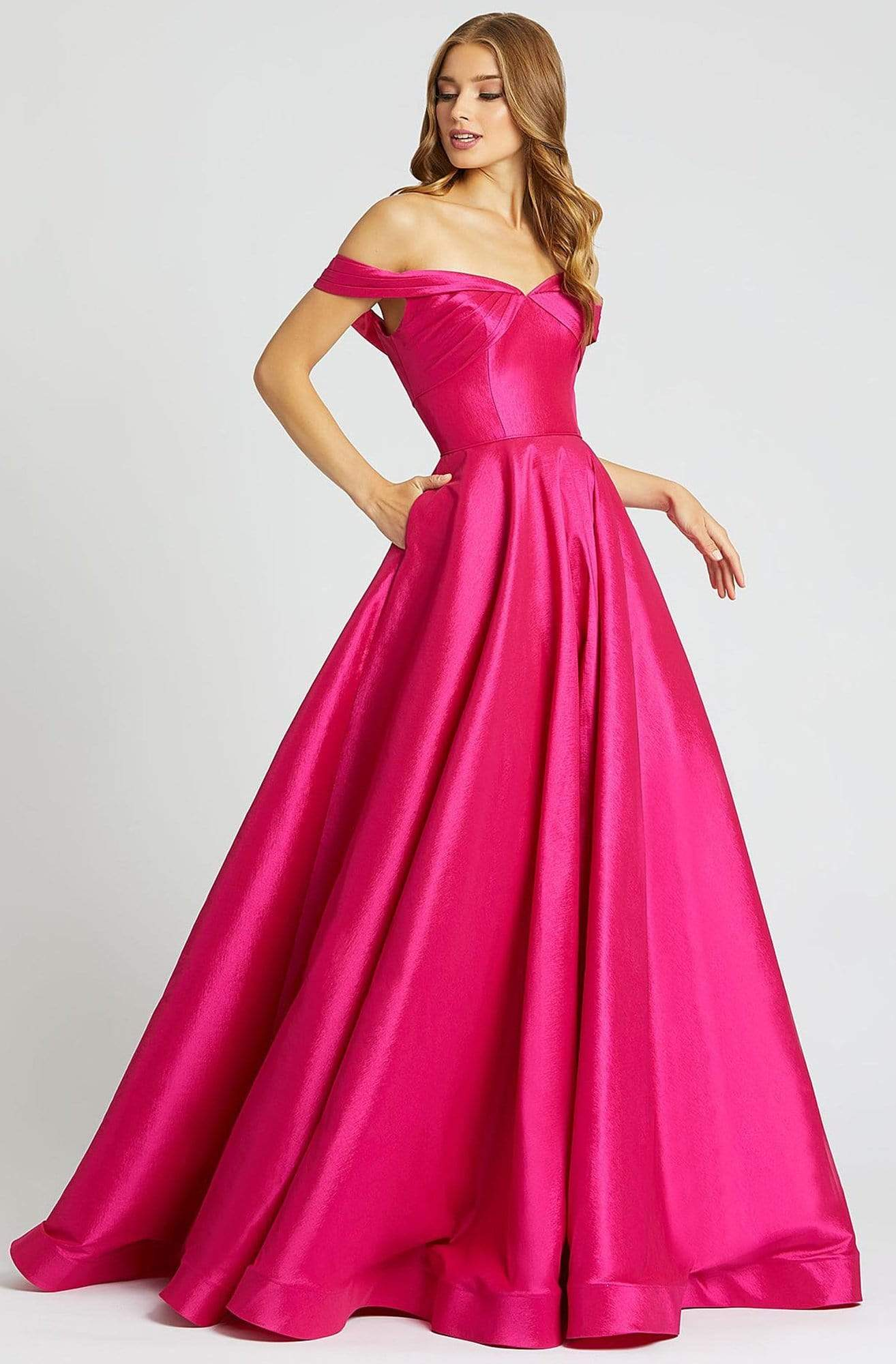 Mac Duggal Ballgowns - 67104H Off Shoulder V back Ballgown In Pink