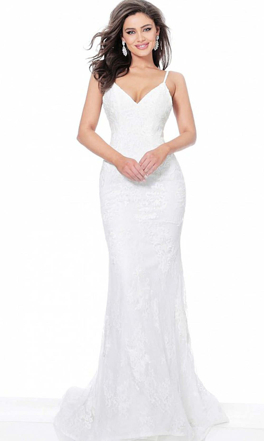 Jovani - 67122 V Neck Embroidered Sheath Evening Dress In White
