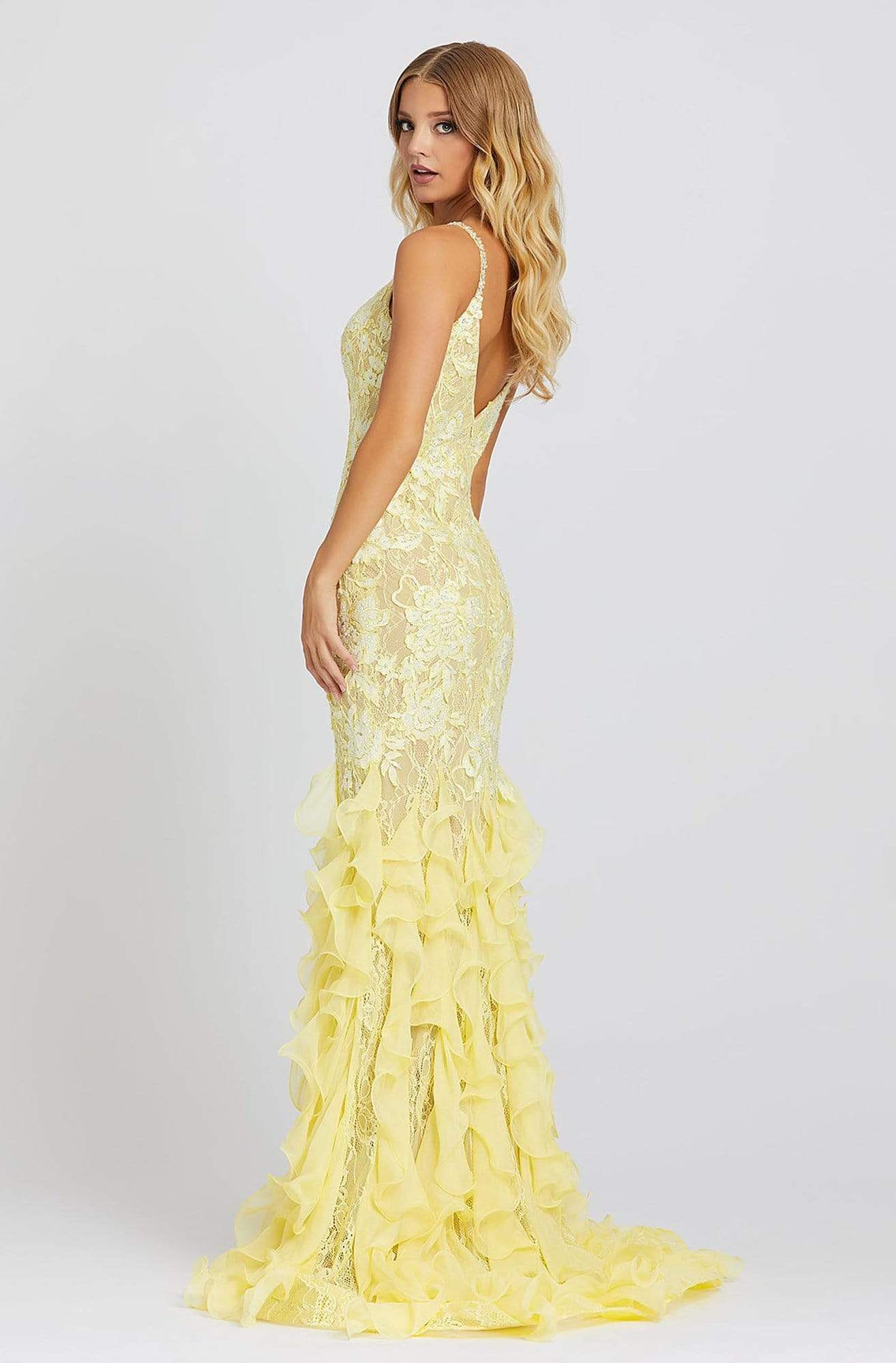 Mac Duggal Prom - 67204M Embroidered V-neck Ruffled Trumpet Dress In Yellow