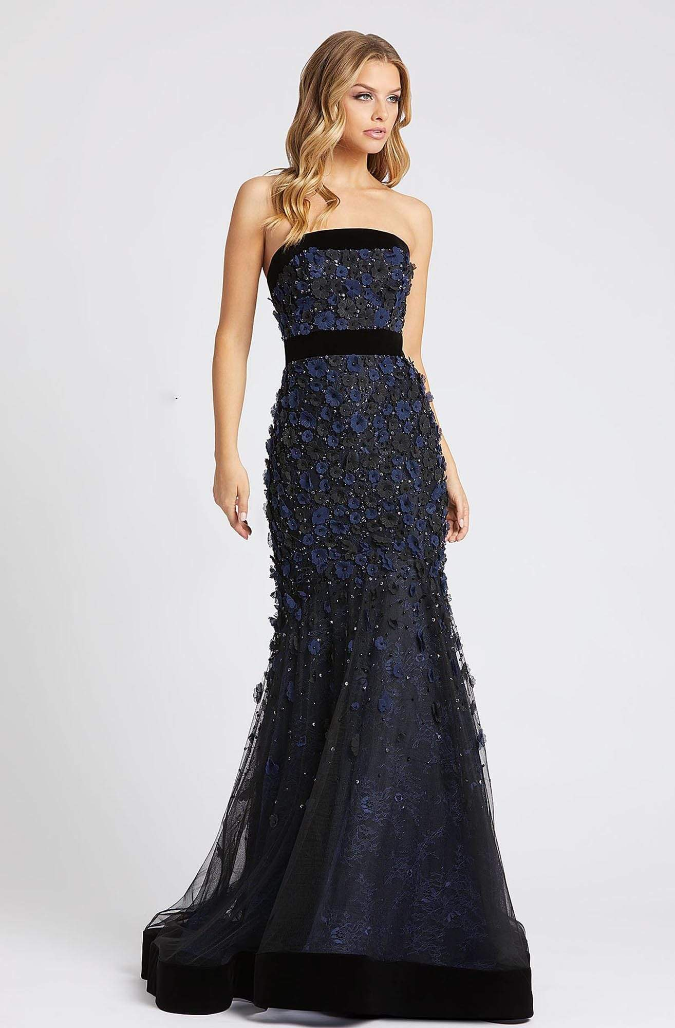 Mac Duggal Evening - 67293D Floral Applique Strapless Trumpet Dress Evening Dresses 0 / Midnight / Black