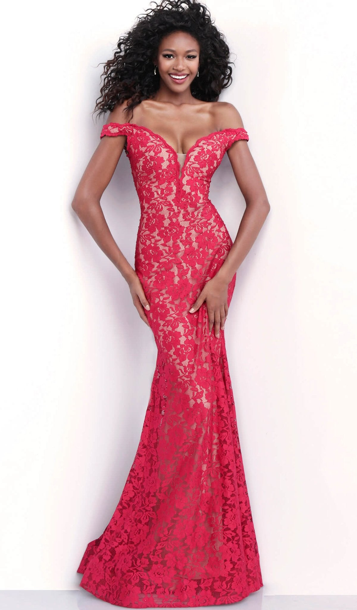 Jovani - 67304 Lace Plunging Off-Shoulder Trumpet Dress With Train In Red