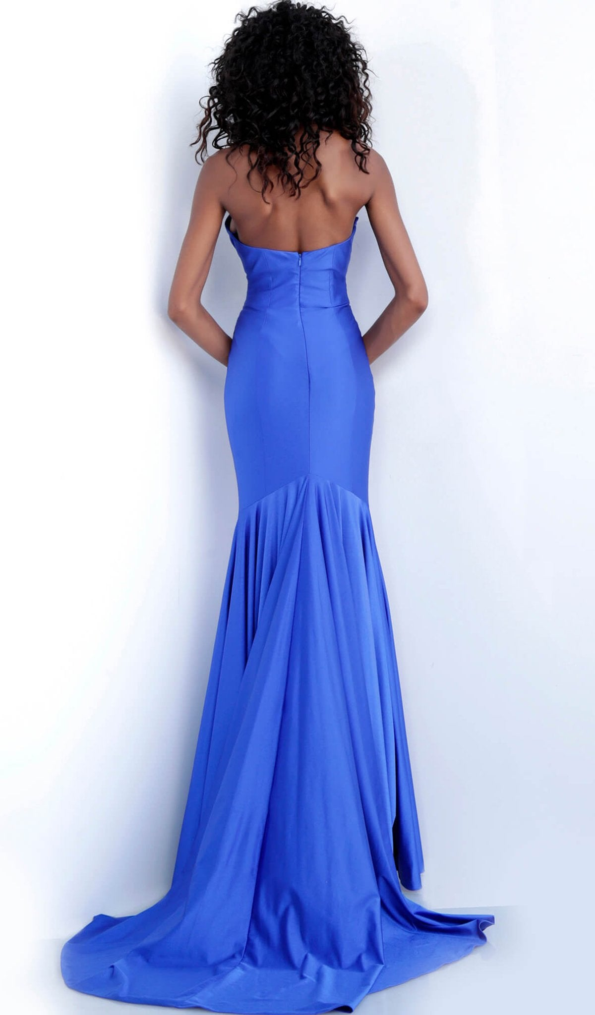 Jovani - 67413 Strapless Plunging Sweetheart Trumpet Dress In Blue