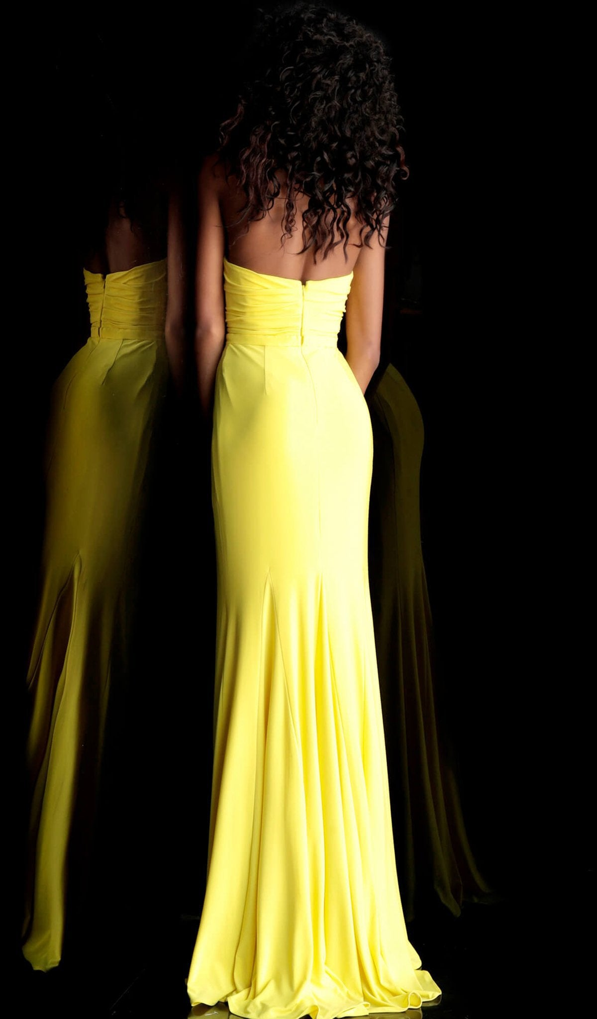 Jovani - 67627 Strapless Deep V-neck A-line Dress With Slit in Yellow