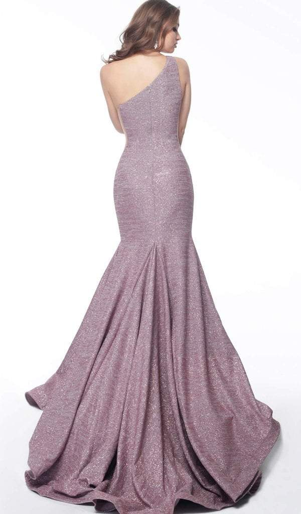 Jovani - Asymmetric Stretch Glitter Mermaid Evening Gown 67650 In Purple