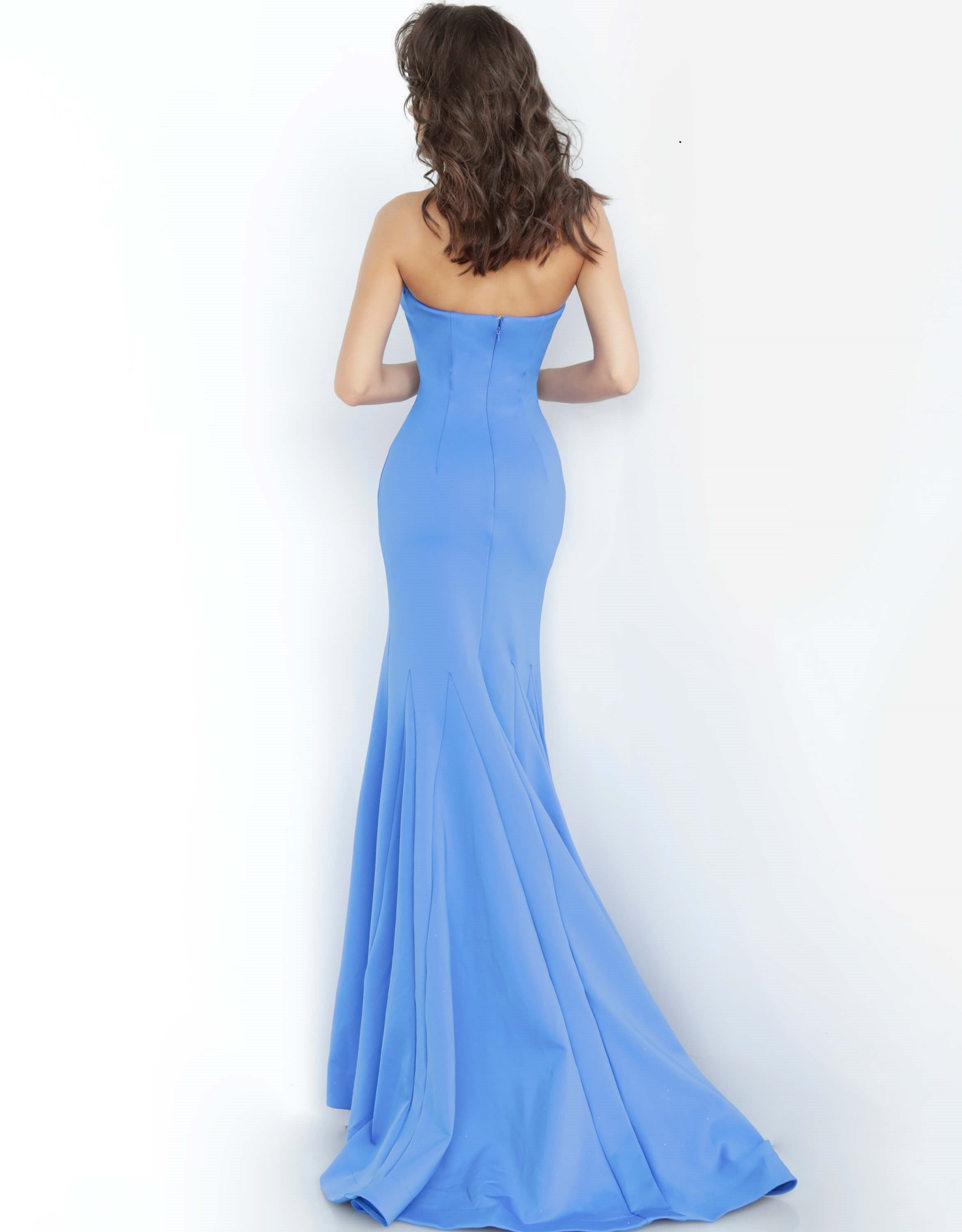 Jovani - Sleeveless High Halter Trumpet Dress With Train 67661SC